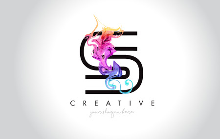 S Vibrant Creative Leter Logo Design with Colorful Smoke Ink Flowing Vector Illustration.
