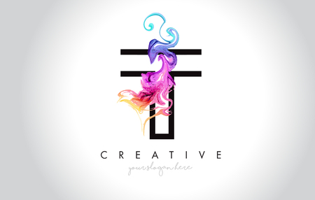 T Vibrant Creative Leter Logo Design with Colorful Smoke Ink Flowing Vector Illustration.