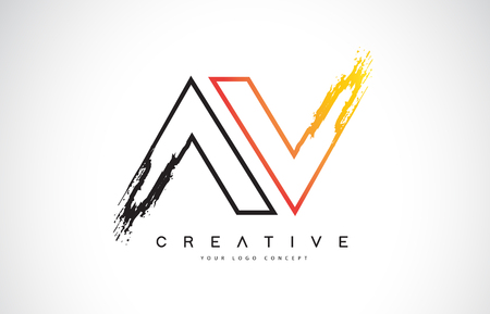 AV Creative Modern Logo Design Vetor with Orange and Black Colors. Monogram Stroke Letter Design.