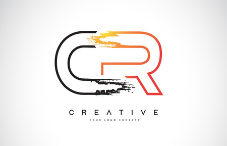 CR Creative Modern Logo Design Vetor with Orange and Black Colors. Monogram Stroke Letter Design.