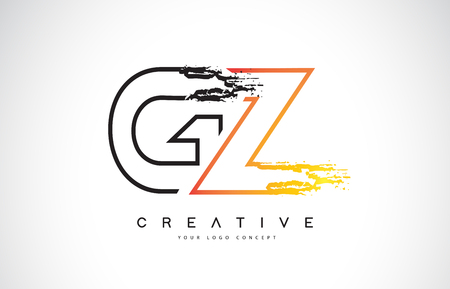 GZ Creative Modern Logo Design Vetor with Orange and Black Colors. Monogram Stroke Letter Design.