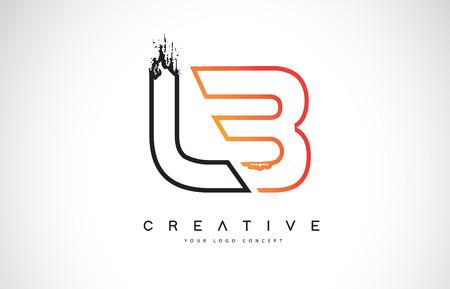 LB Creative Modern Logo Design Vetor with Orange and Black Colors. Monogram Stroke Letter Design. Logó