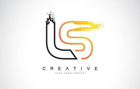 LS Creative Modern Logo Design Vetor with Orange and Black Colors. Monogram Stroke Letter Design.