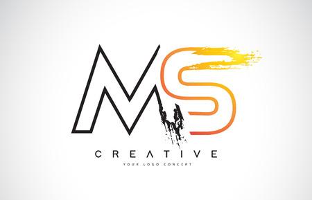 MS M S  Creative Modern Logo Design Vetor with Orange and Black Colors. Monogram Stroke Letter Design. Illustration