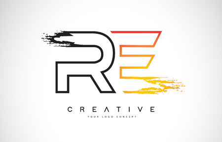 RE Creative Modern Logo Design Vetor with Orange and Black Colors. Monogram Stroke Letter Design. Logo
