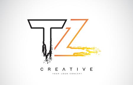 TZ Creative Modern Logo Design Vetor with Orange and Black Colors. Monogram Stroke Letter Design.