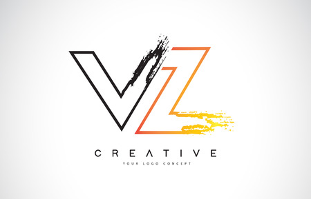 VZ Creative Modern Logo Design Vetor with Orange and Black Colors. Monogram Stroke Letter Design. Logó