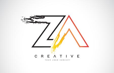 ZA Creative Modern Logo Design Vetor with Orange and Black Colors. Monogram Stroke Letter Design.