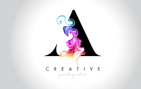 A Vibrant Creative Leter Logo Design with Colorful Smoke Ink Flowing Vector Illustration. Logo