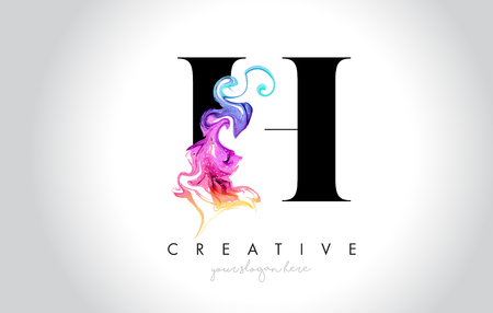 H Vibrant Creative Leter Logo Design with Colorful Smoke Ink Flowing Vector Illustration. Logo