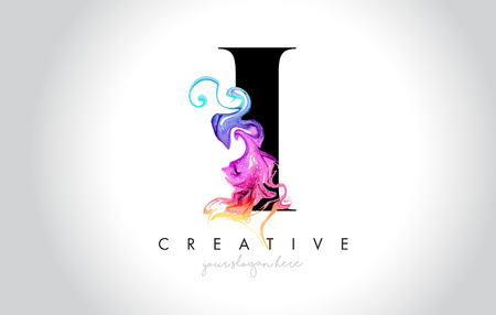 I Vibrant Creative Leter Logo Design with Colorful Smoke Ink Flowing Vector Illustration.