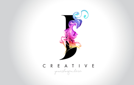 J Vibrant Creative Leter Logo Design with Colorful Smoke Ink Flowing Vector Illustration.