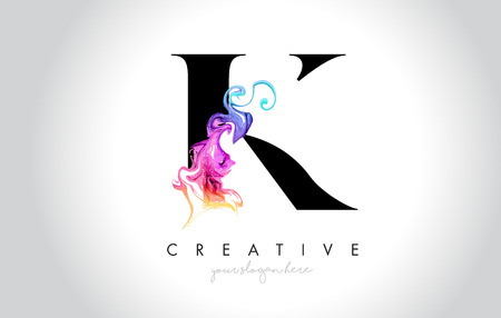 K Vibrant Creative Leter Logo Design with Colorful Smoke Ink Flowing Vector Illustration.