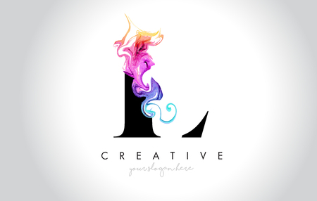 L Vibrant Creative Leter Logo Design with Colorful Smoke Ink Flowing Vector Illustration. Logo
