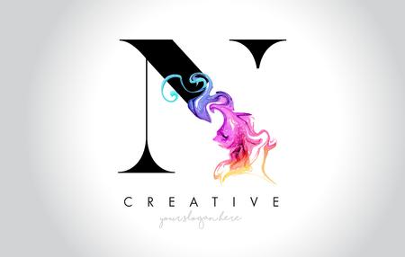 N Vibrant Creative Leter Logo Design with Colorful Smoke Ink Flowing Vector Illustration. Logó