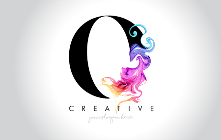 O Vibrant Creative Leter Logo Design with Colorful Smoke Ink Flowing Vector Illustration.