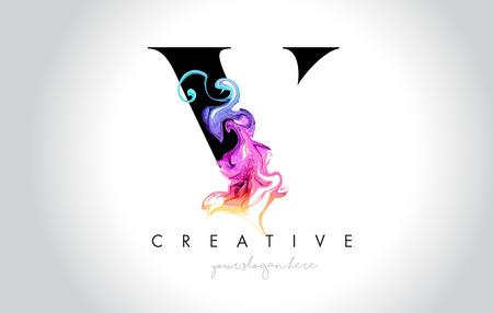V Vibrant Creative Leter Logo Design with Colorful Smoke Ink Flowing Vector Illustration. Logó