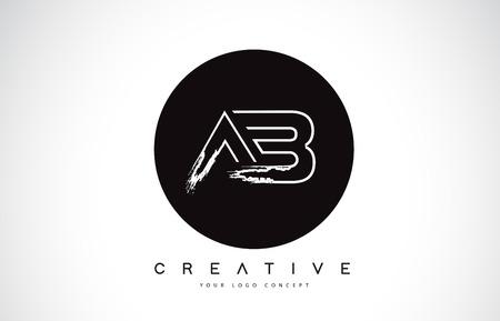 AB Modern Leter Logo Design with Black and White Monogram. Creative Letter Logo Brush Monogram Vector Design.