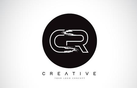 CR Modern Leter Logo Design with Black and White Monogram. Creative Letter Logo Brush Monogram Vector Design.