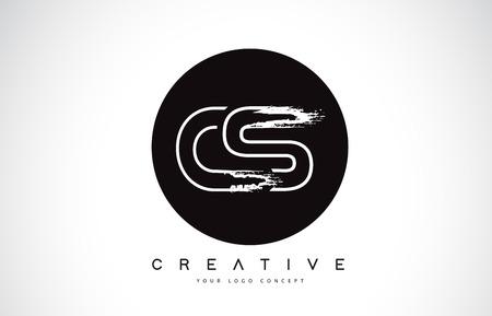 CS Modern Leter Logo Design with Black and White Monogram. Creative Letter Logo Brush Monogram Vector Design.