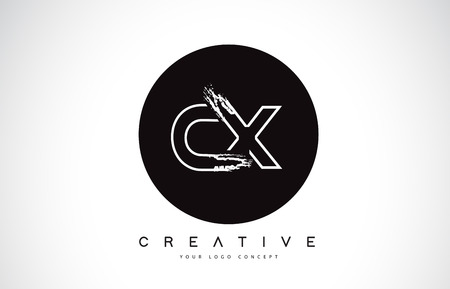CX Modern Leter Logo Design with Black and White Monogram. Creative Letter Logo Brush Monogram Vector Design.