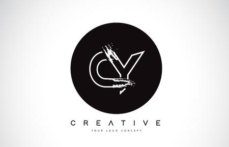 CY Modern Leter Logo Design with Black and White Monogram. Creative Letter Logo Brush Monogram Vector Design. Logó