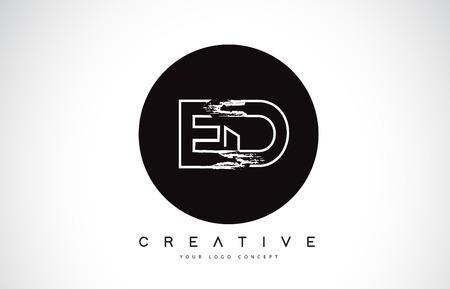 ED Modern Leter Logo Design with Black and White Monogram. Creative Letter Logo Brush Monogram Vector Design. Logó