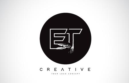 ET Modern Leter Logo Design with Black and White Monogram. Creative Letter Logo Brush Monogram Vector Design.