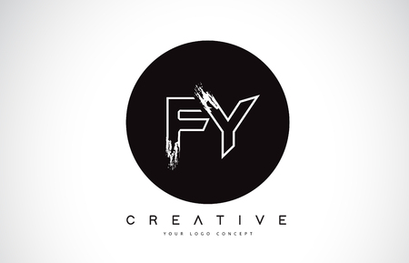 FY Modern Leter Logo Design with Black and White Monogram. Creative Letter Logo Brush Monogram Vector Design.