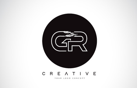 GR Modern Leter Logo Design with Black and White Monogram. Creative Letter Logo Brush Monogram Vector Design.