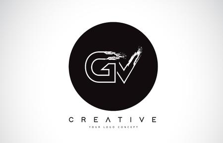 GV Modern Leter Logo Design with Black and White Monogram. Creative Letter Logo Brush Monogram Vector Design.