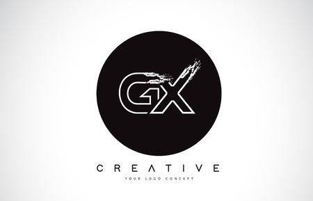 GX Modern Leter Logo Design with Black and White Monogram. Creative Letter Logo Brush Monogram Vector Design.
