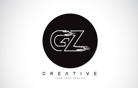 GZ Modern Leter Logo Design with Black and White Monogram. Creative Letter Logo Brush Monogram Vector Design.
