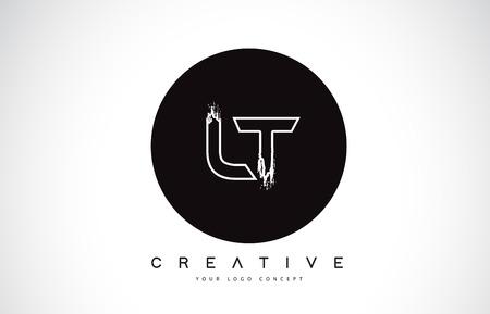 LT Modern Leter Logo Design with Black and White Monogram. Creative Letter Logo Brush Monogram Vector Design.