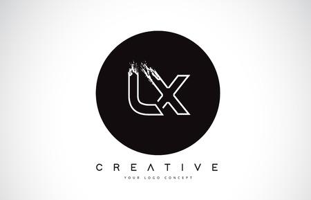 LX Modern Leter Logo Design with Black and White Monogram. Creative Letter Logo Brush Monogram Vector Design. Logó