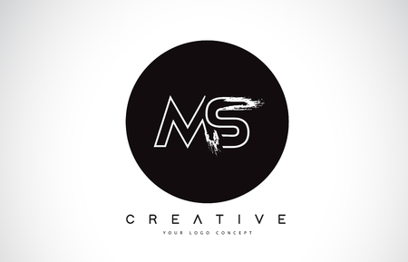 MS Modern Leter Logo Design with Black and White Monogram. Creative Letter Logo Brush Monogram Vector Design.