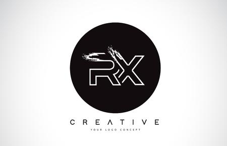 RX Modern Leter Logo Design with Black and White Monogram. Creative Letter Logo Brush Monogram Vector Design.