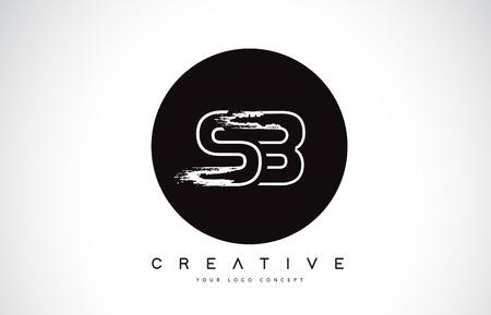 SB Modern Leter Logo Design with Black and White Monogram. Creative Letter Logo Brush Monogram Vector Design.
