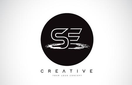 SE Modern Leter Logo Design with Black and White Monogram. Creative Letter Logo Brush Monogram Vector Design.
