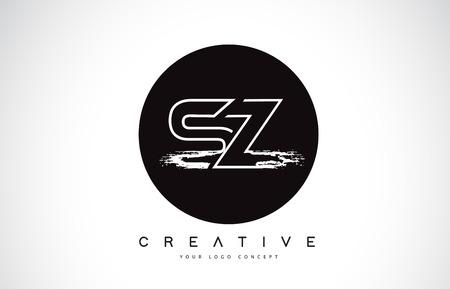 SZ Modern Leter Logo Design with Black and White Monogram. Creative Letter Logo Brush Monogram Vector Design.