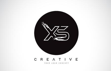 XS Modern Leter Logo Design with Black and White Monogram. Creative Letter Logo Brush Monogram Vector Design. Logó