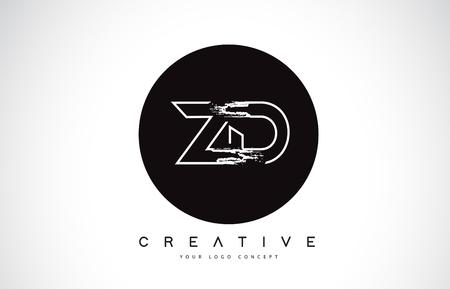 ZD Modern Leter Logo Design with Black and White Monogram. Creative Letter Logo Brush Monogram Vector Design.
