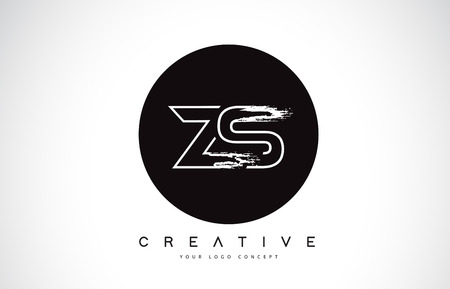 ZS Modern Leter Logo Design with Black and White Monogram. Creative Letter Logo Brush Monogram Vector Design.
