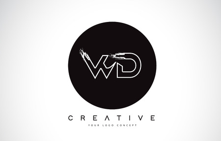 WD Modern Leter Logo Design with Black and White Monogram. Creative Letter Logo Brush Monogram Vector Design.