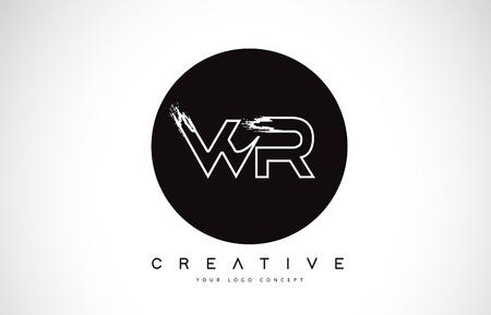 WR Modern Leter Logo Design with Black and White Monogram. Creative Letter Logo Brush Monogram Vector Design. Logó