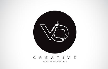 VO Modern Leter Logo Design with Black and White Monogram. Creative Letter Logo Brush Monogram Vector Design. Logó