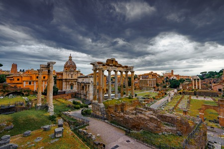 Roman Forum Architecture in Rome Italy City Center. Rome Ethernal City Architectural Details.