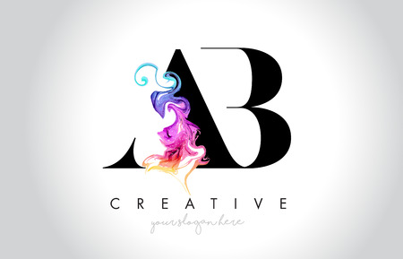 AB Vibrant Creative Leter Logo Design with Colorful Smoke Ink Flowing Vector Illustration.