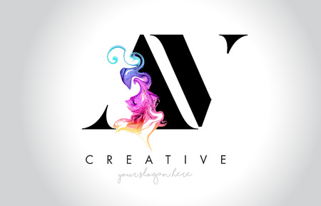 AV Vibrant Creative Leter Logo Design with Colorful Smoke Ink Flowing Vector Illustration.
