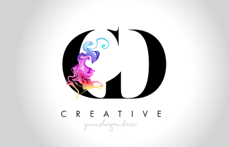 CD Vibrant Creative Leter Logo Design with Colorful Smoke Ink Flowing Vector Illustration. Logo
